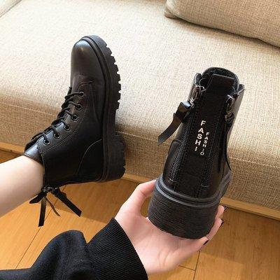 冬季保暖女靴 馬丁鞋 長靴機車靴 韓版百搭歐洲站秋季雙拉鏈馬丁靴女英倫風百搭厚底冬加絨短靴