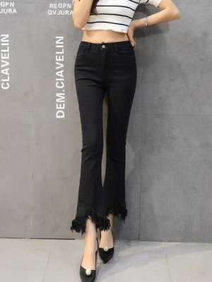 ZIHOPE 牛仔褲女春秋季新款韓版顯瘦女士高腰黑色微喇叭褲女九分褲子ZI812