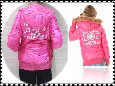 日本大牌CO&LU閃亮粉色連帽外套 / M 毛可拆