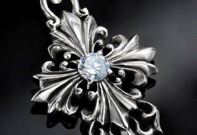 【創銀坊】天王星 925純銀 墜子 十字架 星星 水晶 寶石 鑽石 Tiffany 手工 設計 神 項鍊(P-1807)