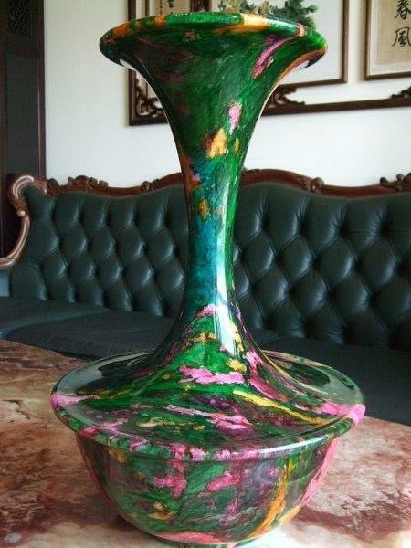 *藏雅軒*天然礦石花東七彩玉石系列-大型聚寶盆花瓶-璀璨人生