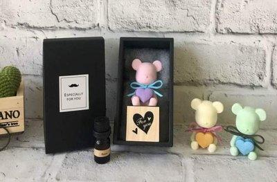 JaSmine Flora 熊愛你檜木擴香石精油禮盒組(單個)/香氛~ 乾燥花 精油 擺飾 手作 情人節 婚禮小物 生日