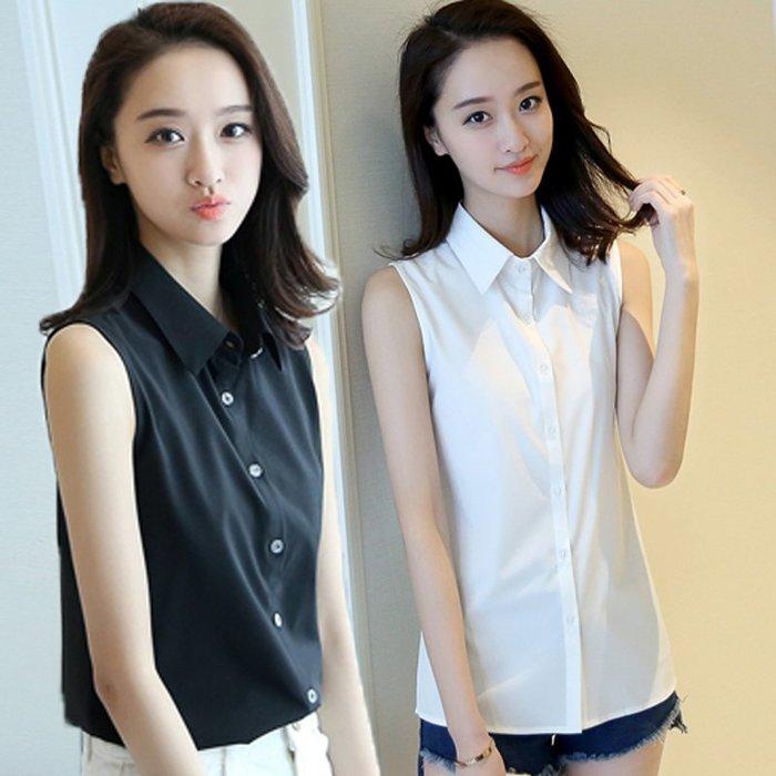 [C.M.平價精品館]S~4XL帥氣百搭清新有型黑色/白色無袖襯衫