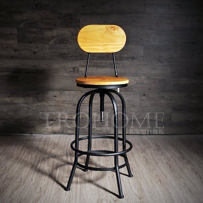 【拓家工業風家具】LOFT實木靠背吧台椅/升降椅旋轉椅吧檯椅高腳椅/美式鄉村風英國國旗酒吧椅