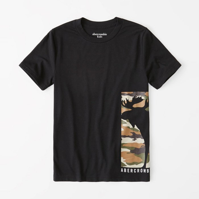 【abercrombie kids】【a&f】af男童款短袖T恤左下印米彩大鹿黑 F07191118-50