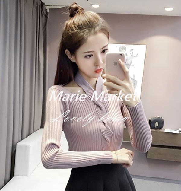 ☆ Marie Market ☆ 韓國訂單 質感性感顯瘦毛衣 掛脖設計針織衫 長袖針織衫