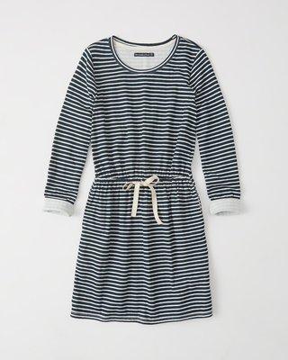 Maple麋鹿小舖 Abercrombie&Fitch * AF 深藍色條紋長袖洋裝 * ( 現貨S號 )