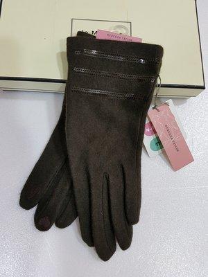 《Amy's shop》日本直購~~REBECCA TAYLOR深咖啡色亮片毛料手套 ~現貨1