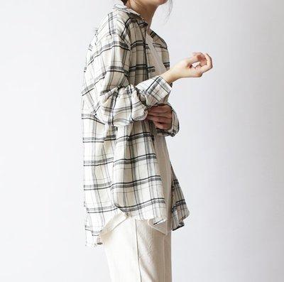 girlmonster 正韓 棉格紋 長袖襯衫 薄款 (黑色 紅色 藍色)   【A0359】