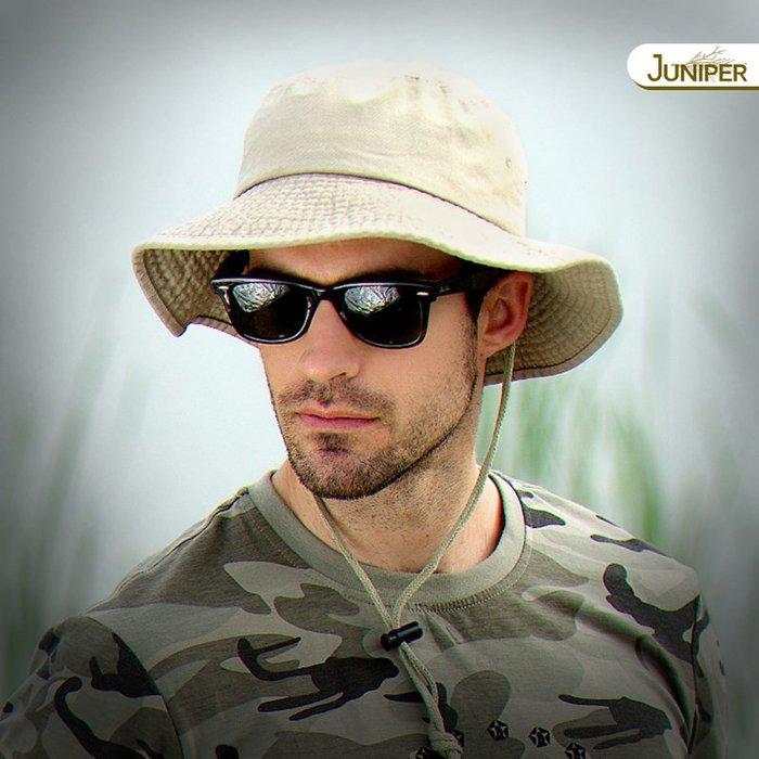 預售款-LKQJD-JUNIPER戶外釣魚帽子漁夫帽男士夏季遮陽防曬帽盆帽防潑水大頭圍