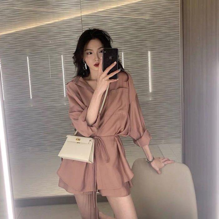韓版時尚款兩件式套裝薄款襯衫防曬外套 闊腿短褲