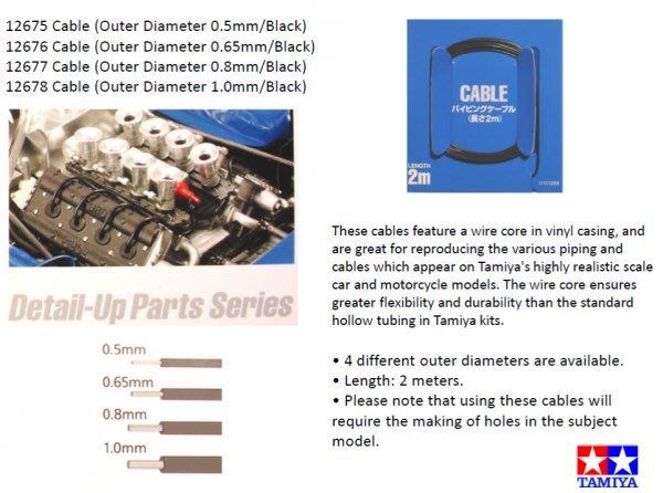 【TAMIYA 12677】模型改裝用像真纜線 (外徑0.8mm,長2M,內為金屬線) 適用汽車 摩托車模型