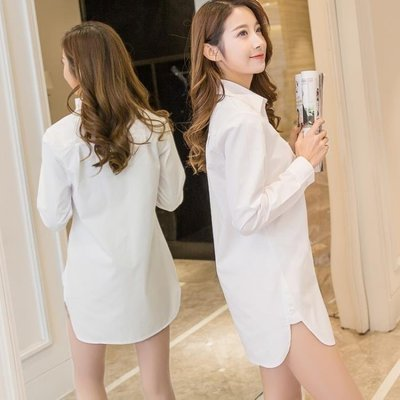 ZIHOPE 襯衫 春秋新款白襯衫女長袖中長款輕熟睡衣大碼寬鬆百搭學生打底衫ZI812
