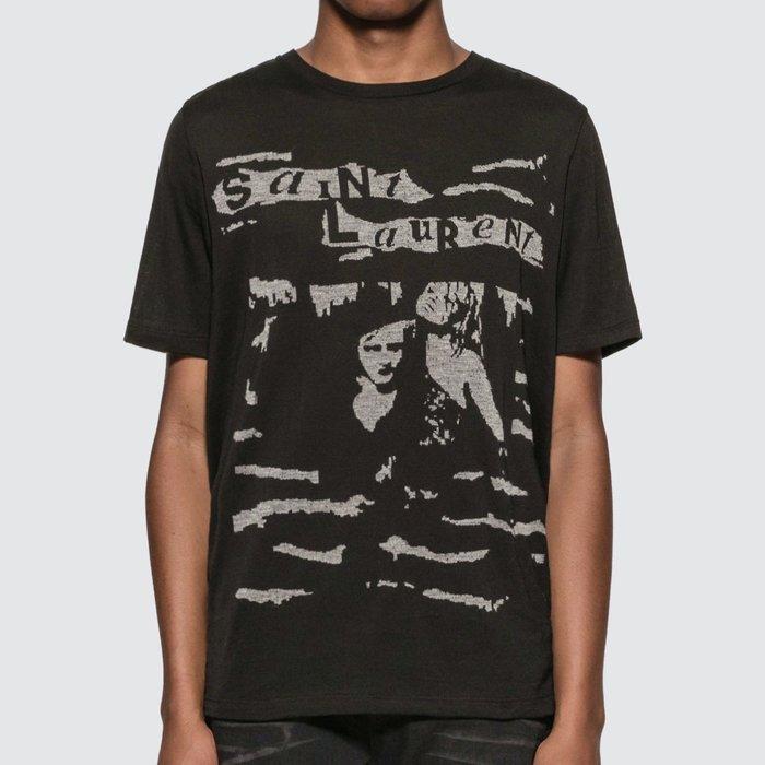Saint Laurent - Jacquard Saint Laurent T-Shirt 男Logo人物印花短T 折扣代購中