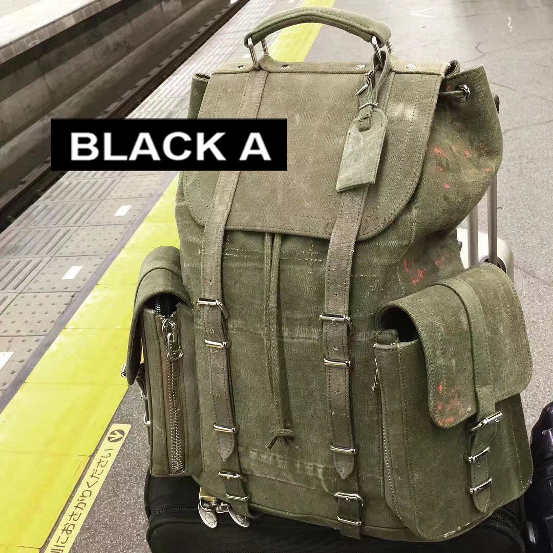 47fdd4decf  BLACK A 獨家日本細川雄太READYMADE OFF WHITE 手工軍布背包