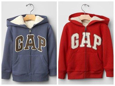 【BJ.go】GAP童裝 Sherpa arch logo zip hoodie  仿皮LOGO羊絨內襯連帽外套現貨