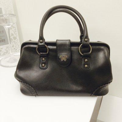 Anna Sui 真皮 經典醫生包 手提包 墨黑色 收藏款