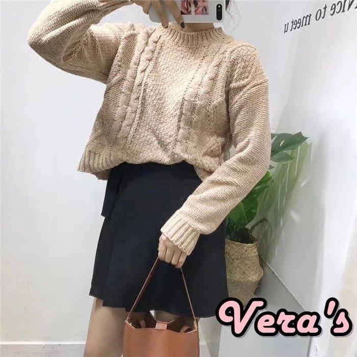 【Z0107-7420】(現貨)圓領兩側麻花軟毛衣