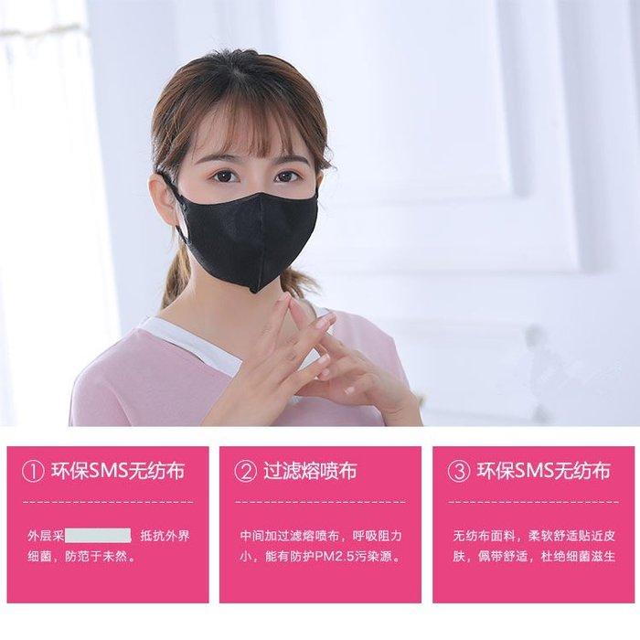 白色黑色一次性口罩3入裝三層加厚水刺布 3D立體口罩 防塵螨防霧霾口罩