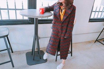 正韓大衣  JUST SO SO 毛料菱格紋長版大衣 超禦寒  大力著用款