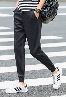 【韓之谷】black Loose trousers elasticity ,Foot pants,束口素面褲情侶褲 現貨