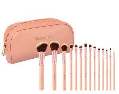 【愛來客 】美國 BH Cosmetics 14件 Piece Brush Set with 粉色 化妝刷具組 附刷包