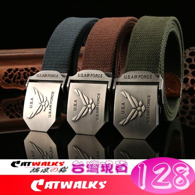 【 Catwalk's 搖滾の貓 】軍規風美國空軍軍種徽加厚款帆布腰帶 16色 台灣現貨