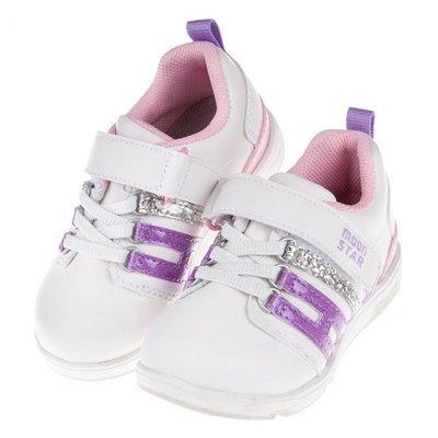 童鞋(15~21公分)Moonstar日本Hi系列紫銀粉兒童機能運動鞋I7Q559F