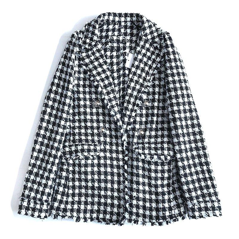 【千鳥格修身小香風西裝外套】2020上班族大衣毛尼小資女聖誕耶誕節交換禮物-現貨《小紅帽愛編織》