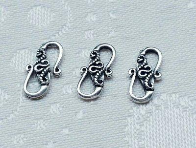 嗨,寶貝銀飾珠寶* 925純銀飾 DIY串珠配件☆古典花卉圖騰 S扣頭配件 串珠