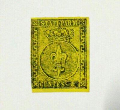 (極品珍藏)義大利 帕爾馬(Parma) 1852年(首套郵票第一枚) 百合波旁徽章 5c