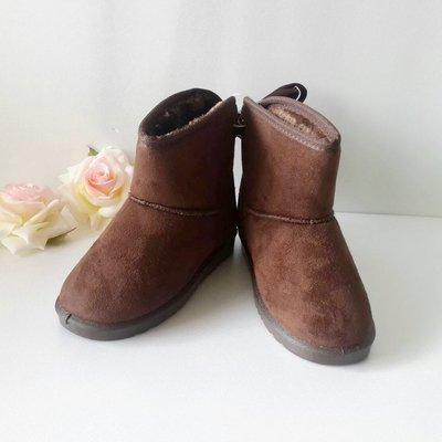 【CHIMOMO】 全新 DOOK 兒童雪靴 防滑/保暖 短筒靴 短靴 加厚保暖 32號 ( 咖啡色 )