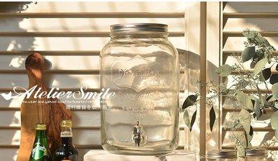 [ Atelier Smile ] 鄉村雜貨 美式復古 玻璃冰桶 酒桶 飲料桶 8公升 無鐵架 野餐 派對 附水龍頭