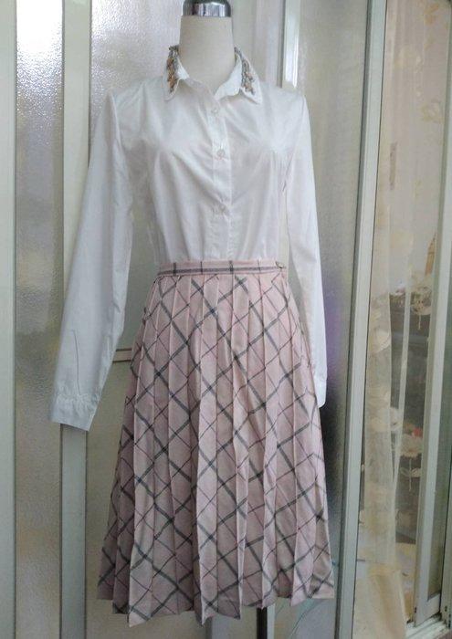 專櫃 GRAIG 絲毛混紡格紋及膝裙