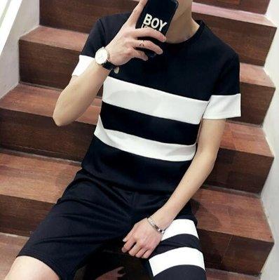 套裝 韓版短袖休閒T恤短褲 加大碼(KS0486)