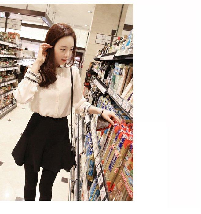Modem Girl♥100%實拍 自留 小香尼毛邊質感雪紡襯衫上衣 XS-XL號