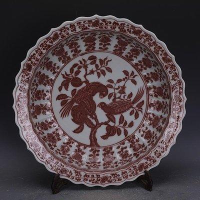【三顧茅廬 】元代釉里紅手繪花鳥紋瓷盤果盤 出土官窯古瓷器古玩古董收藏擺件