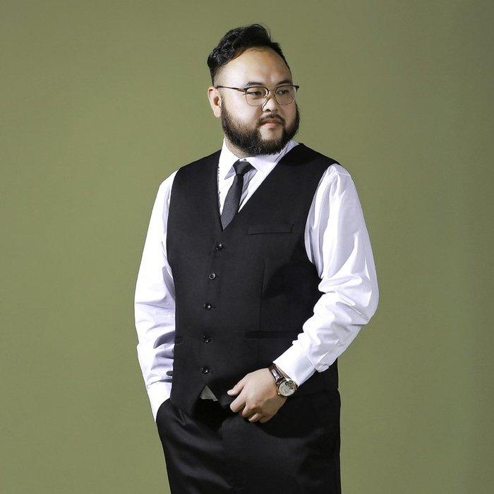 胖人專賣 胖子加肥加大碼西裝馬甲胖人男裝特大號新郎婚禮司儀西裝背心商務vnkb