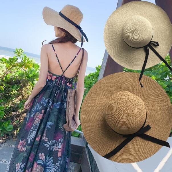 草帽 遮陽帽 泰國三亞旅遊海邊度假草帽大檐遮陽防曬沙灘帽子防曬 波西米亞—莎芭