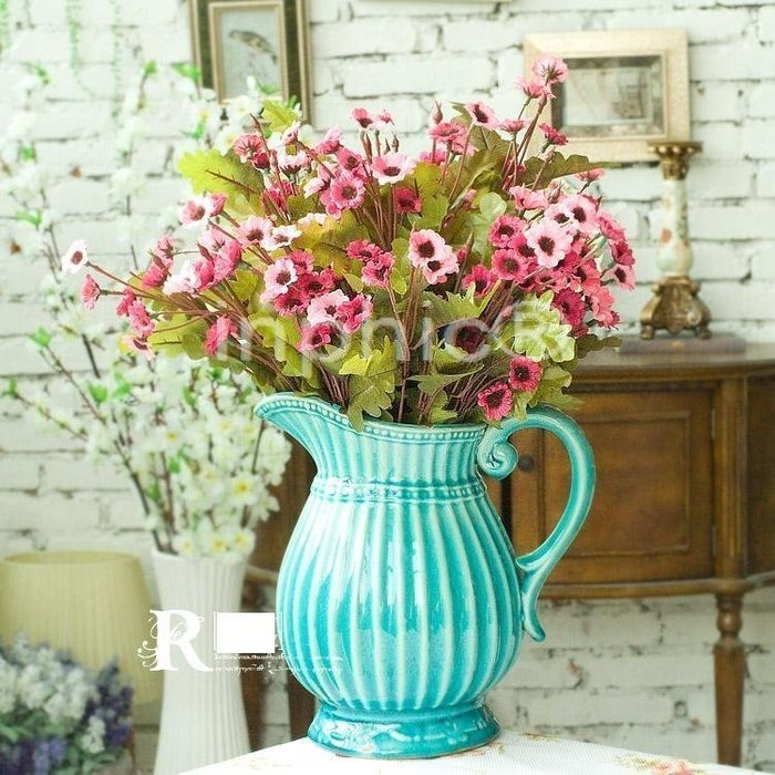 INPHIC-地中海風格 阿提拉陶瓷花器3束玫紅蘇珊小山菊 仿真花藝套裝