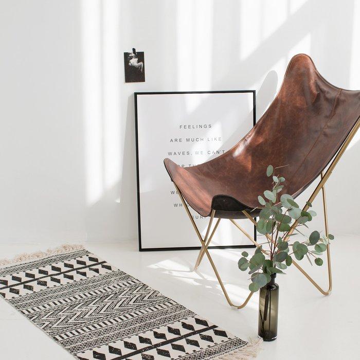波西米亞 黑白民族風地墊 編織地墊 雙側流蘇  沙發墊 拍攝道具 臥室 居家 工作室 裝飾 床邊踏墊