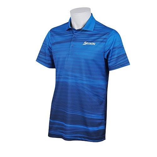 藍鯨高爾夫 SRIXON 短袖上衣#RGMLJA03T(藍)涼感/吸汗速乾,抗UV(UPF15以上)