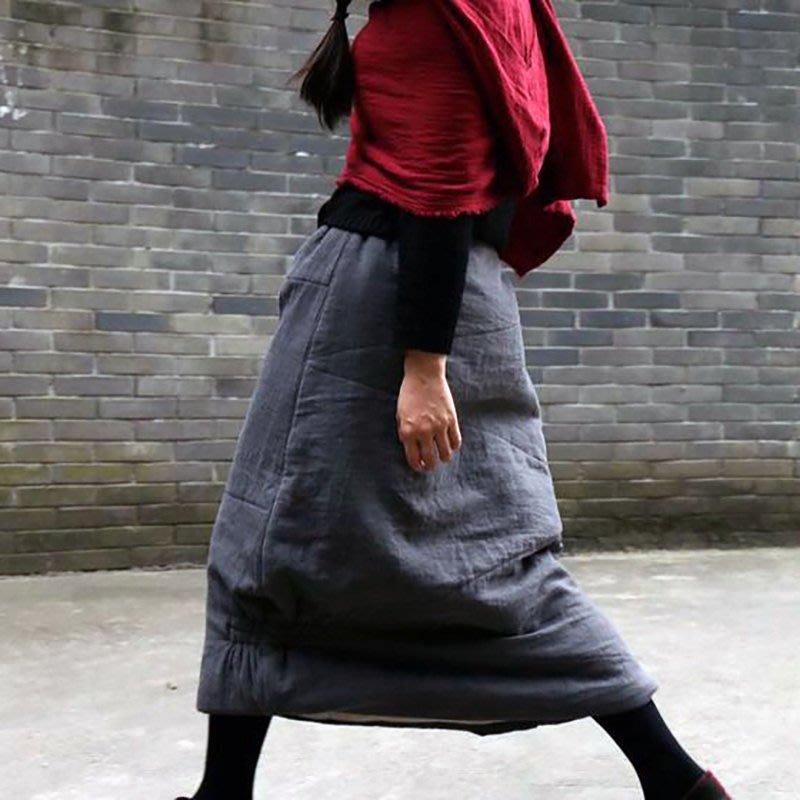 [ UNIDO ] 原創手作 都會日常素簡拼接厚棉長裙/ 質感風雅/ 保暖舒適/ 立體剪裁/ 鋪棉抗寒必備/ 暖心禮物
