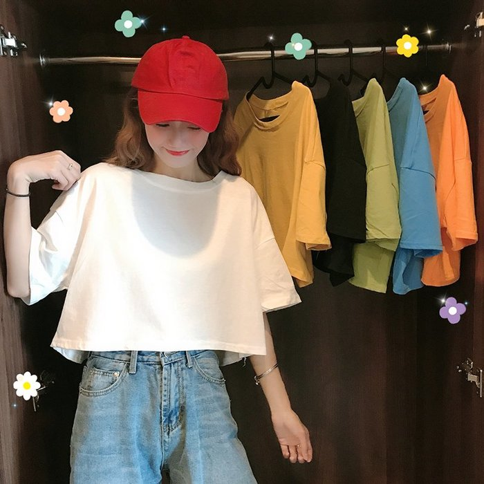 小香風 短袖T恤 時尚穿搭 韓版 寬松 顯瘦 短款露臍上衣百搭糖果色學生短袖T恤女