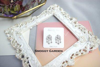 【Smoggy Garden】韓 簍空鏤空幾何圓形五角星星雪花結晶水鑽鋯石環繞浪漫星芒垂墜捕夢網耳環 925純銀針 銀