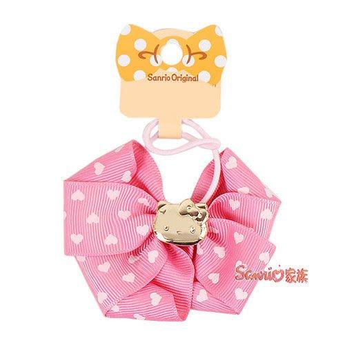 《東京家族》現貨日本三麗鷗 hello kitty凱蒂貓 粉嫩緞帶蝴蝶結彈力髮束(愛心) 髮圈髮飾