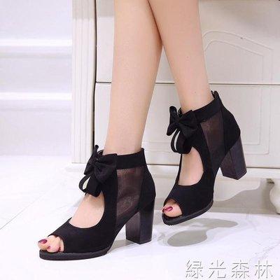 哆啦本鋪 魚嘴鞋 韓版蕾絲網紗魚嘴靴春夏蝴蝶結透氣女鞋高跟涼鞋羅馬鞋女 D655