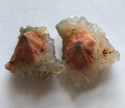 紅鈣沸石和玉髓 Red scolecite with chalcedony stone 原石 礦物 標本 寶石 ~ B1808 ~ 隨緣 688