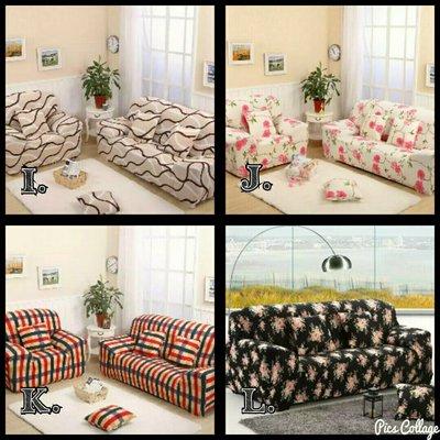 ☆彈性沙發套3+4☆ 1.免運2.送防滑條3.送抱枕套4.送枕芯,$2446元00171