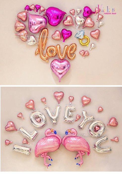 ☆[Hankaro]☆ 歐美派對裝飾用品浪漫求婚婚禮造型鋁膜氣球套裝組E
